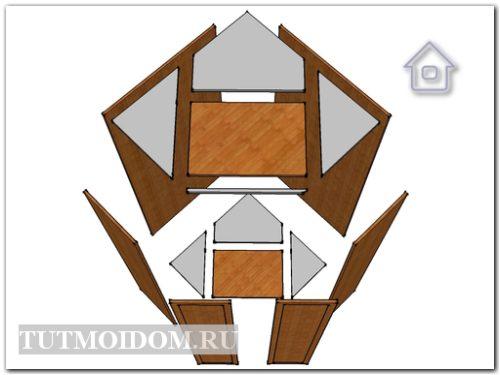 Задние стенки у углового шкафа могут быть комбинированными.
